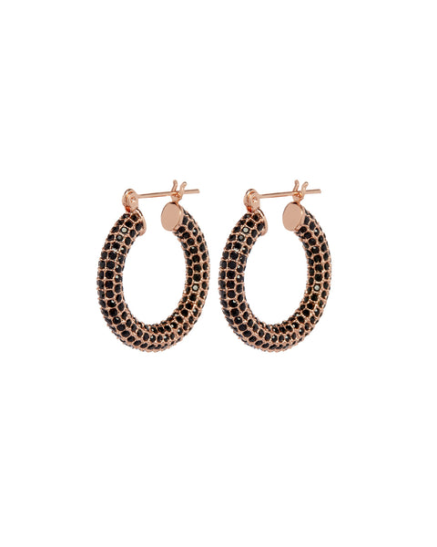 Pave Baby Amalfi Hoops- Rose Gold- Jet