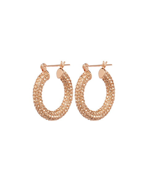 Pave Baby Amalfi Hoops- Rose Gold- Light Peach (Ships Mid January)