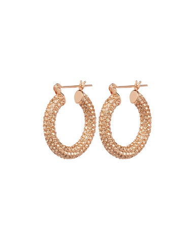Pave Baby Amalfi Hoops- Rose Gold- Light Peach
