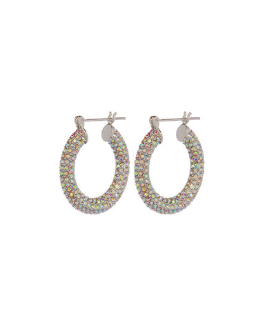 Pave Baby Amalfi Hoops- Silver- Rainbow Crystal