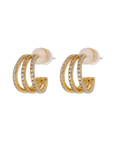 Pave Baby Bastille Hoops- Gold (Ships Mid May)