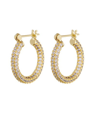 Pave Baby Skinny Amalfi Hoops- Gold (Ships Mid February)