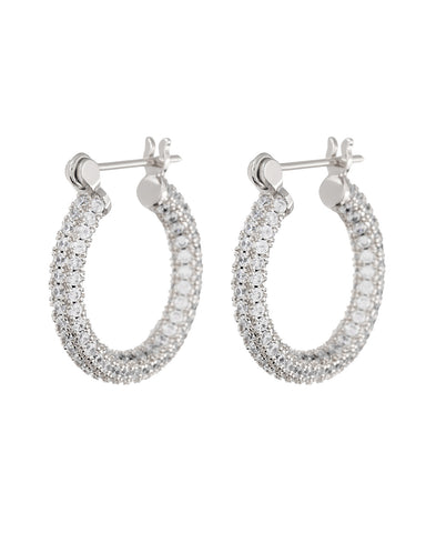 Pave Baby Skinny Amalfi Hoops- Silver (Ships Late March)