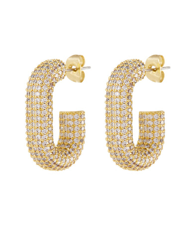 Pave Bijou Loop Hoops- Gold (Ships Early December)