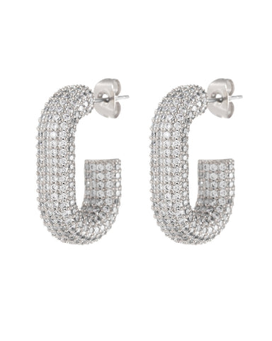 Pave Bijou Loop Hoops- Silver (Ships Late May)