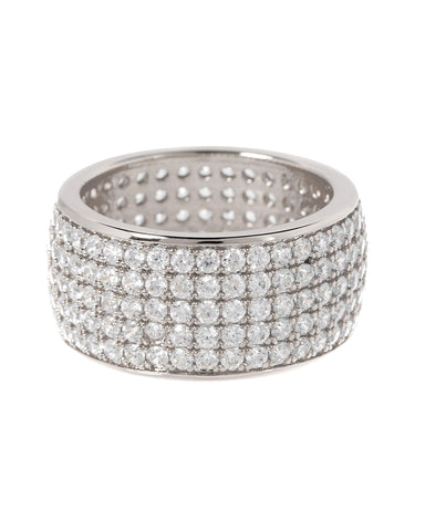 Pave Cigar Ring- Silver