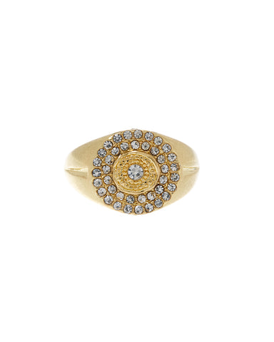 Pave Cosmic Signet Ring- Gold