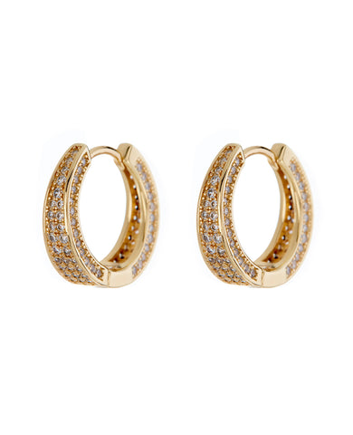 Pave Geneva Hoops- Gold