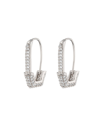 Pave Hex Safety Pin Earrings- Silver (Ships Late December)