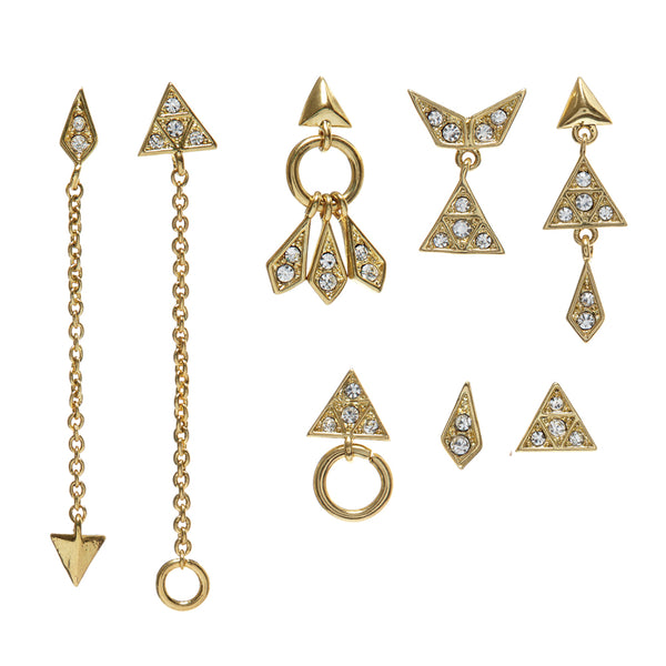 Pave Kite Mixed Earring Set - Gold (Ships Late April)