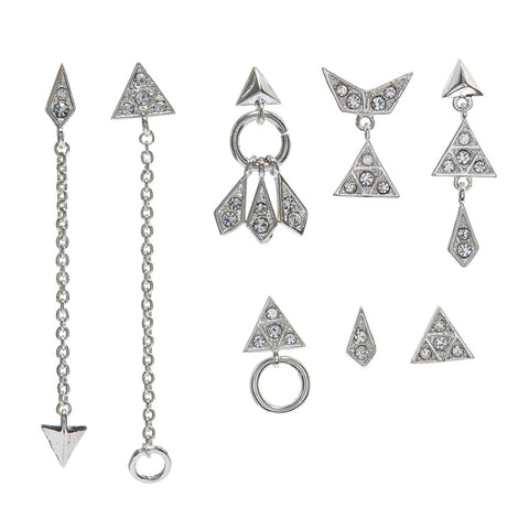Pave Kite Mixed Earring Set - Silver