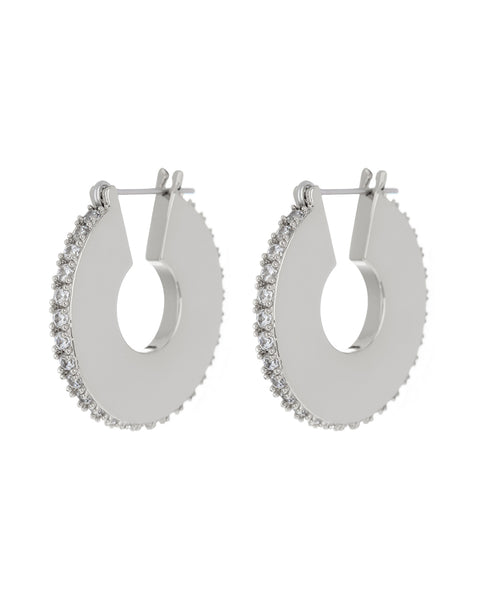Pave Luna Hoops- Silver
