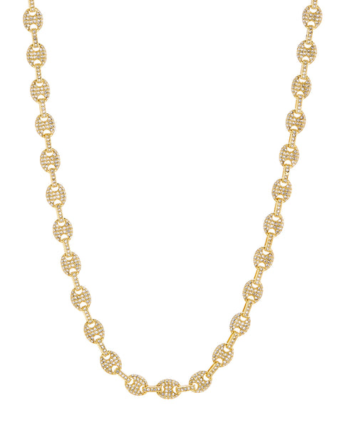 Pave Mariner Chain Necklace- Gold (Ships Mid December)