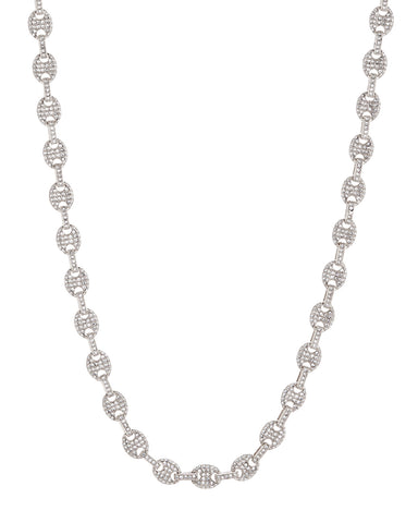 Pave Mariner Chain Necklace- Silver