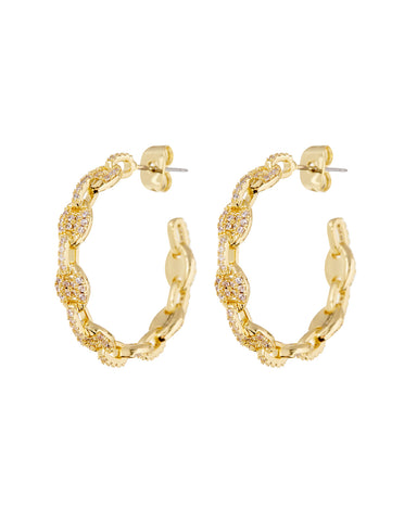 Pave Mariner Hoops- Gold