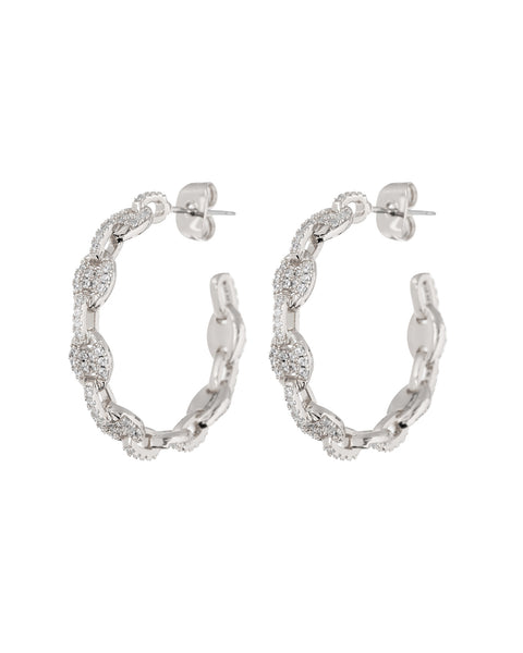 Pave Mariner Hoops- Silver