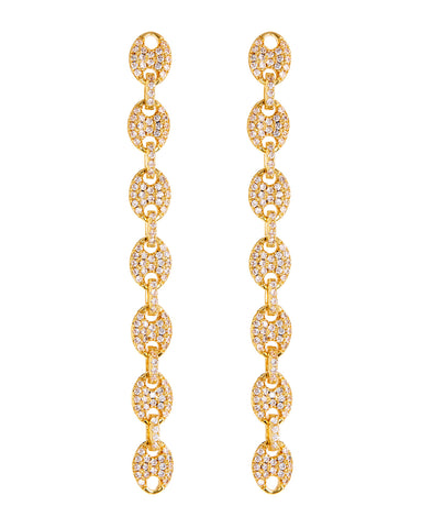 Pave Mariner Link Drop Earrings- Gold