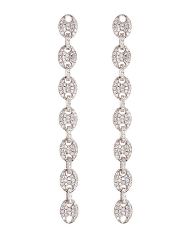 Pave Mariner Link Drop Earrings- Silver