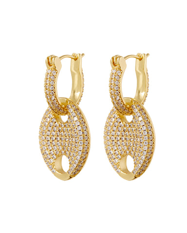 Pave Mariner Link Earrings- Gold