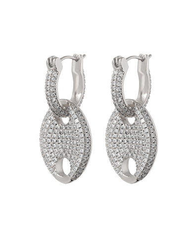Pave Mariner Link Earrings- Silver