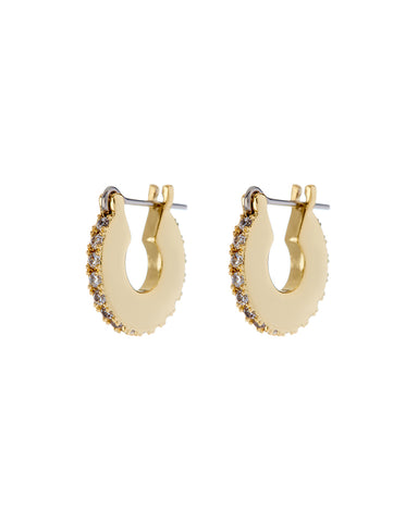 Pave Mini Luna Hoops- Gold