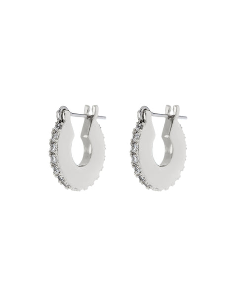 Pave Mini Luna Hoops- Silver (Ships Mid May)