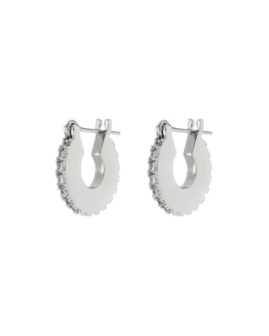 Pave Mini Luna Hoops- Silver