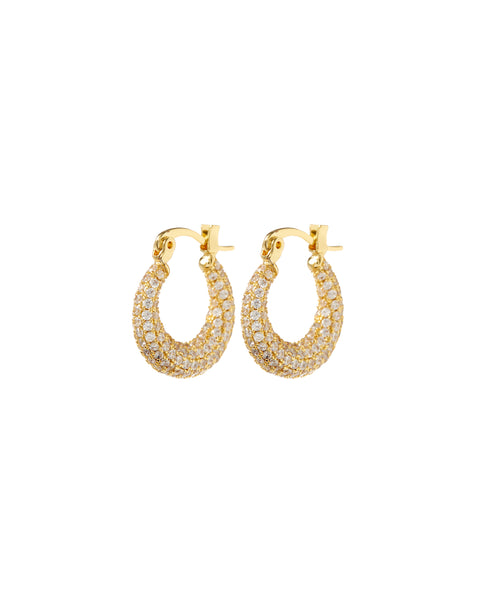 Pave Mini Martina Hoops- Gold (Ships Late April)