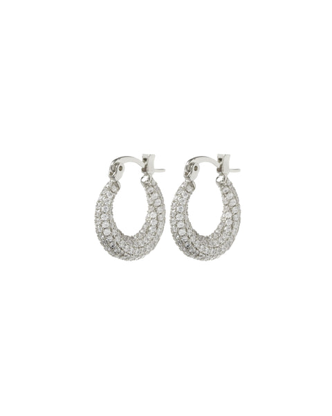 Pave Mini Martina Hoops- Silver
