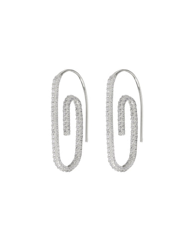Pave Paper Clip Earrings- Silver (Ships Mid May)