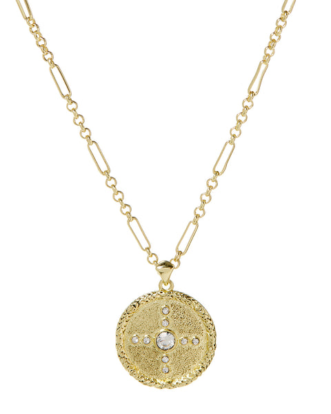 Pave Polaris Charm Necklace- Gold