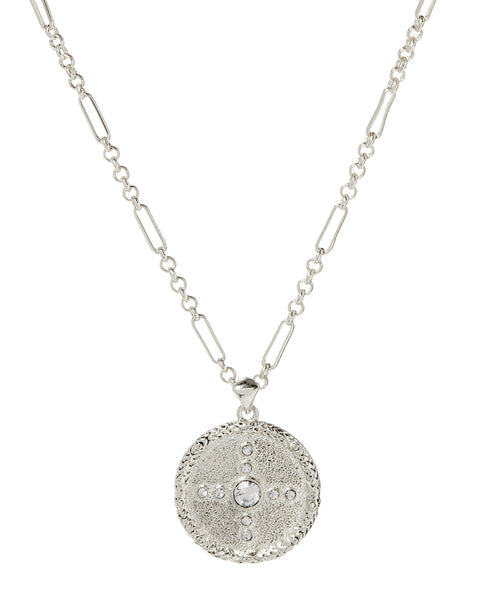 Pave Polaris Charm Necklace- Silver