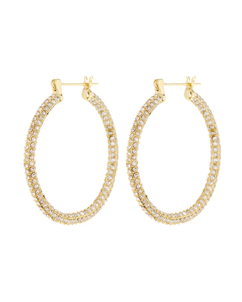 Pave Skinny Amalfi Hoops- Gold (Ships Mid March)
