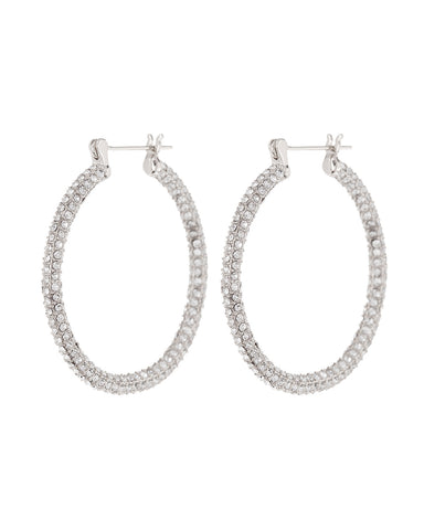 Pave Skinny Amalfi Hoops- Silver (Ships Late March)