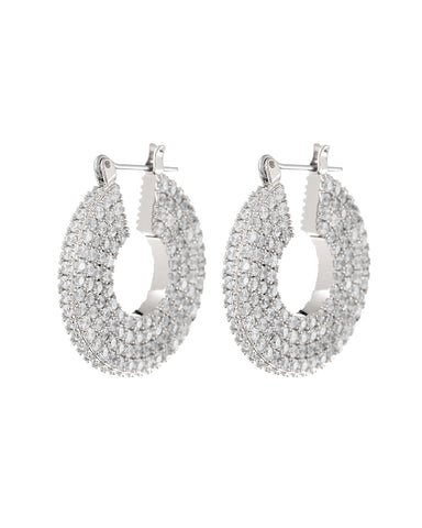 Pave Stefano Hoops- Silver