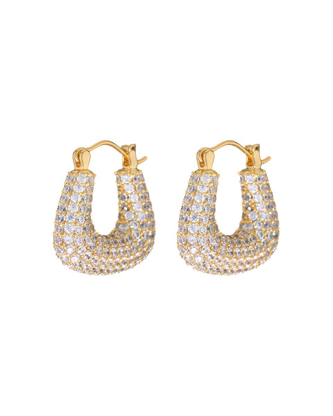 Pave Tia Hoops- Gold (Ships Mid April)
