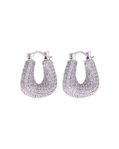 Pave Tia Hoops- Silver (Ships Mid April)