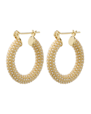 Pearl Pave Baby Amalfi Hoops- Gold (Ships Mid April)