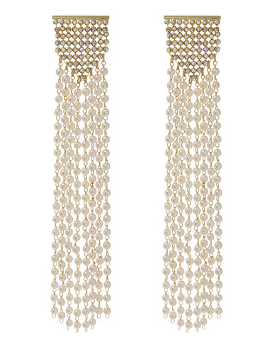 Pearl Chainmaille Statement Hoops- Gold