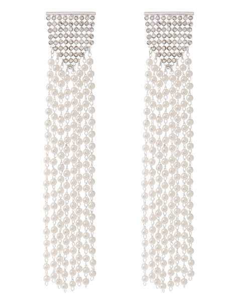 Pearl Chainmaille Statement Hoops- Silver
