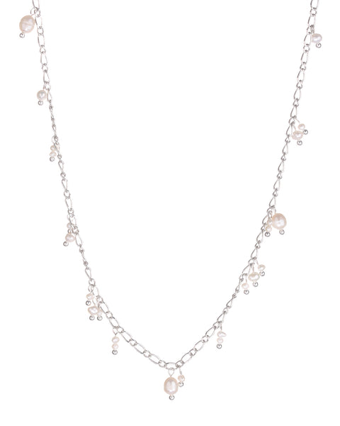 Pearl Drop Charm Necklace- Silver