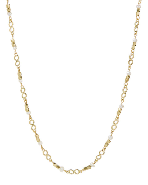 Pearl Infinity Necklace- Gold