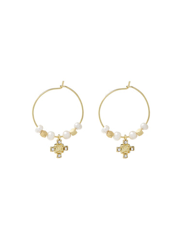 Pearl Punk Stud Hoops- Gold