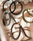 Pave Amalfi Hoops- Rose Gold- Jet