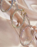 Pave Amalfi Hoops- Gold- Rainbow Crystal (Ships Early February)