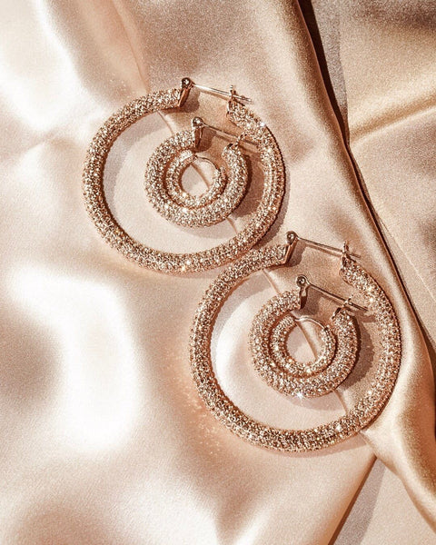 Pave Amalfi Hoops- Rose Gold- Light Peach