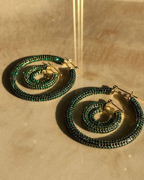 Pave Baby Amalfi Hoops- Gold- Emerald