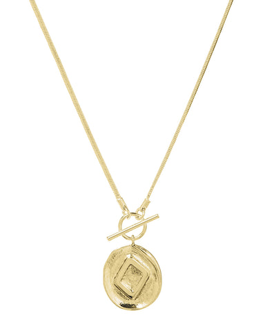 Punk Stud Coin Necklace- Gold (Ships Late August)