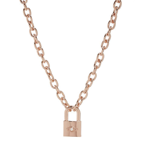 Evil Eye Padlock Necklace- Rose Gold