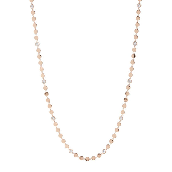 Diamond Disc Wrap Necklace- Rose Gold